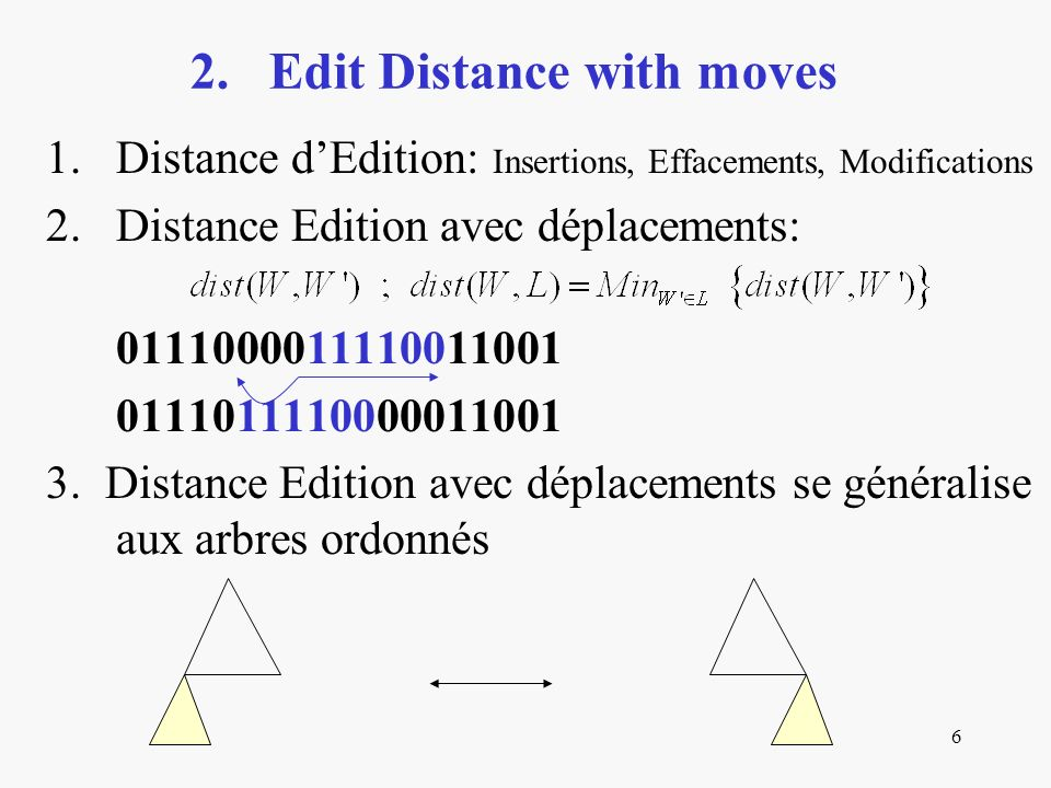 6 1.Distance dEdition: Insertions, Effacements, Modifications 2.Distance Edition avec déplacements: 0111000011110011001 0111011110000011001 3. Distanc