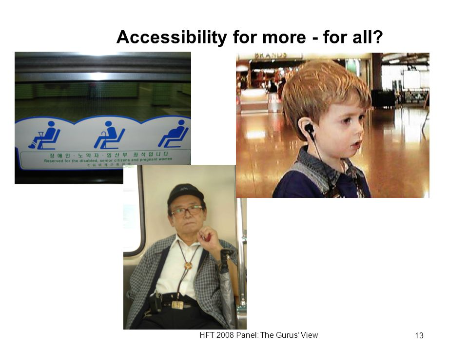 HFT 2008 Panel: The Gurus View 13 Accessibility for more - for all?