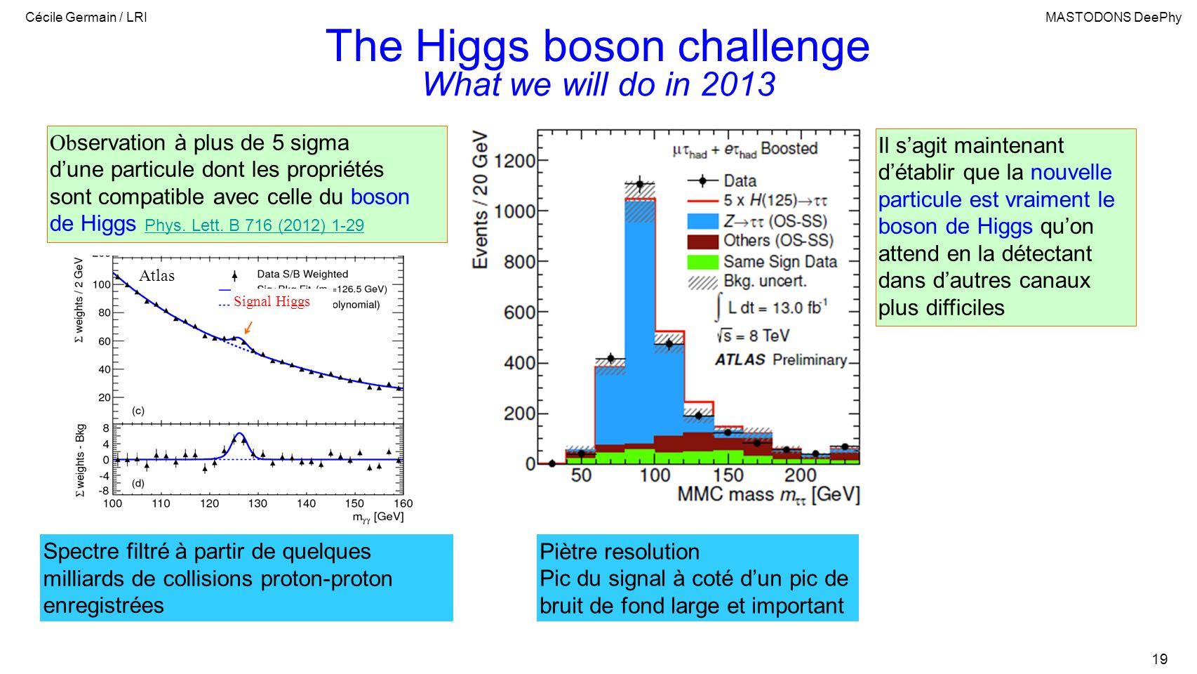 Cécile Germain / LRIMASTODONS DeePhy 19 The Higgs boson challenge Ob servation à plus de 5 sigma dune particule dont les propriétés sont compatible avec celle du boson de Higgs Phys.