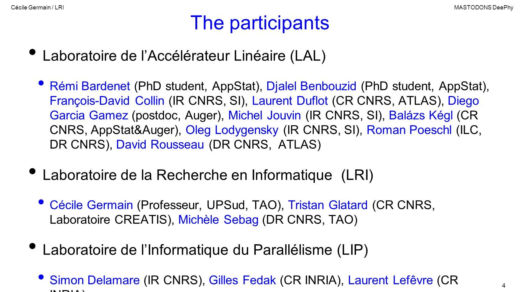 Cécile Germain / LRIMASTODONS DeePhy 4 The participants Laboratoire de lAccélérateur Linéaire (LAL) Rémi Bardenet (PhD student, AppStat), Djalel Benbouzid (PhD student, AppStat), François-David Collin (IR CNRS, SI), Laurent Duflot (CR CNRS, ATLAS), Diego Garcia Gamez (postdoc, Auger), Michel Jouvin (IR CNRS, SI), Balázs Kégl (CR CNRS, AppStat&Auger), Oleg Lodygensky (IR CNRS, SI), Roman Poeschl (ILC, DR CNRS), David Rousseau (DR CNRS, ATLAS) Laboratoire de la Recherche en Informatique (LRI) Cécile Germain (Professeur, UPSud, TAO), Tristan Glatard (CR CNRS, Laboratoire CREATIS), Michèle Sebag (DR CNRS, TAO) Laboratoire de lInformatique du Parallélisme (LIP) Simon Delamare (IR CNRS), Gilles Fedak (CR INRIA), Laurent Lefêvre (CR INRIA)