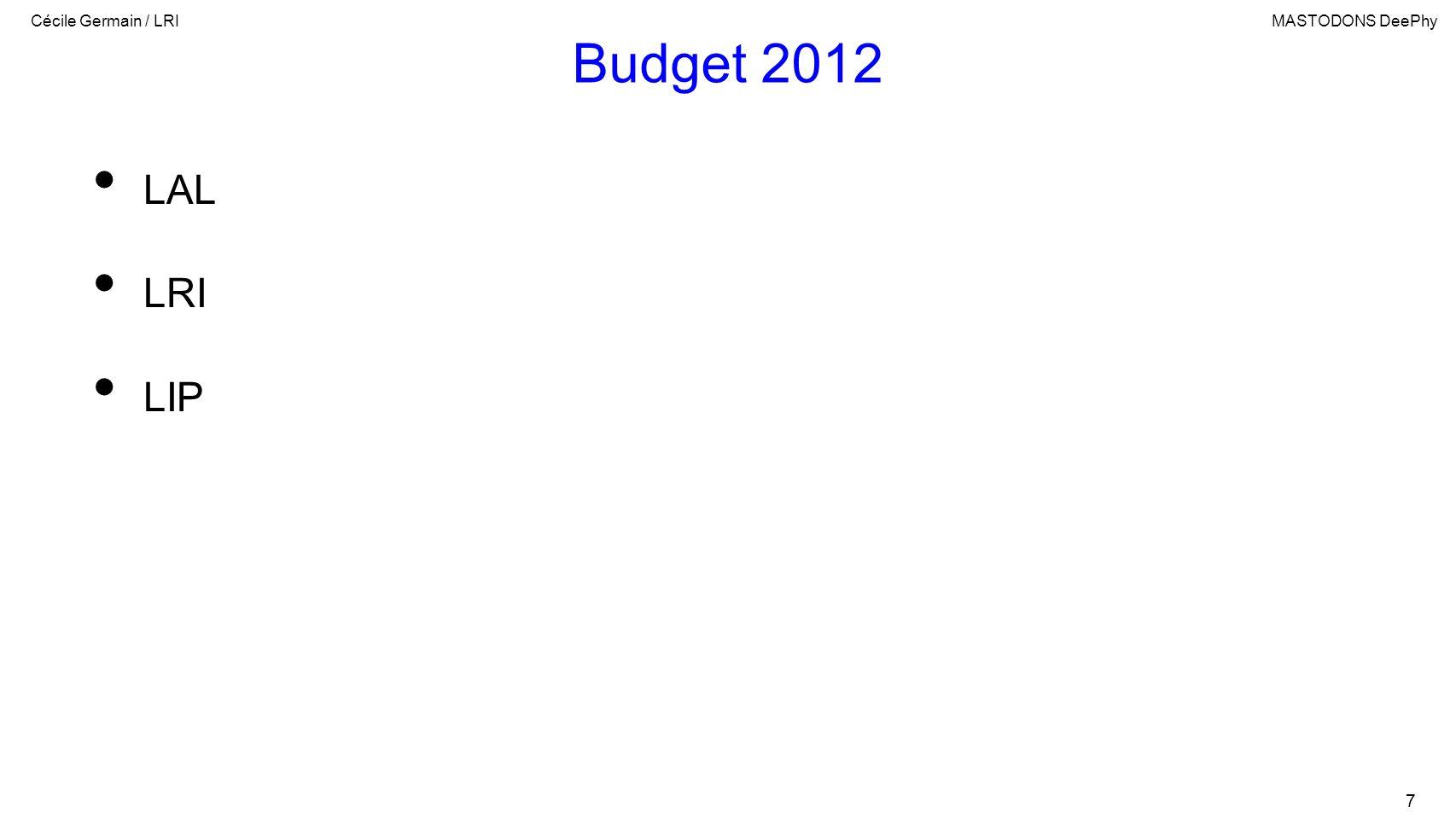 Cécile Germain / LRIMASTODONS DeePhy 7 Budget 2012 LAL LRI LIP