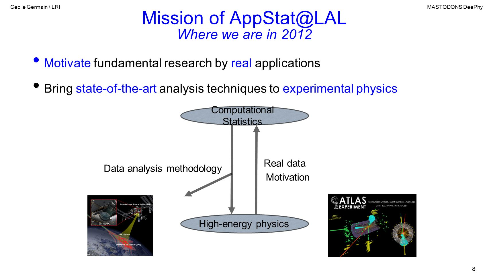 Cécile Germain / LRIMASTODONS DeePhy 8 Mission of AppStat@LAL Motivate fundamental research by real applications Bring state-of-the-art analysis techn