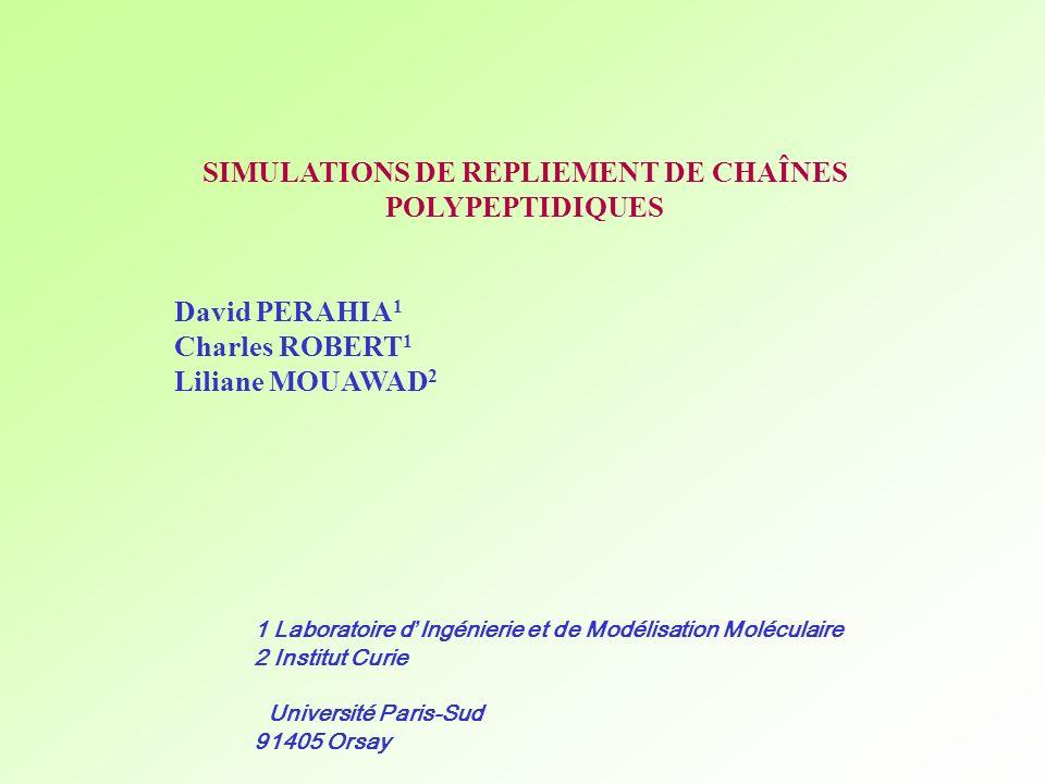 1 Laboratoire d Ingénierie et de Modélisation Moléculaire 2 Institut Curie Université Paris-Sud 91405 Orsay SIMULATIONS DE REPLIEMENT DE CHAÎNES POLYP