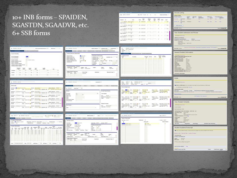 . 10+ INB forms – SPAIDEN, SGASTDN, SGAADVR, etc. 6+ SSB forms