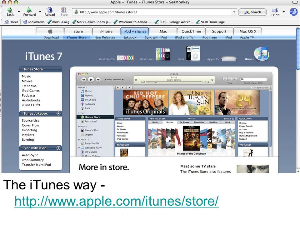 The iTunes way - http://www.apple.com/itunes/store/ http://www.apple.com/itunes/store/