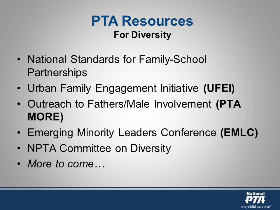 National Standards for Family-School Partnerships Urban Family Engagement Initiative (UFEI) Outreach to Fathers/Male Involvement (PTA MORE) Emerging Minority Leaders Conference (EMLC) NPTA Committee on Diversity More to come…