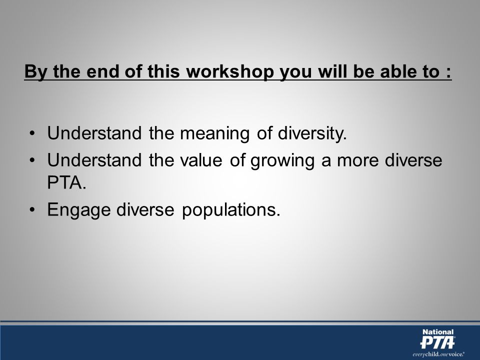 By the end of this workshop you will be able to : Understand the meaning of diversity.