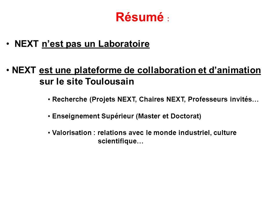 Résumé : NEXT nest pas un Laboratoire NEXT est une plateforme de collaboration et danimation sur le site Toulousain Recherche (Projets NEXT, Chaires N