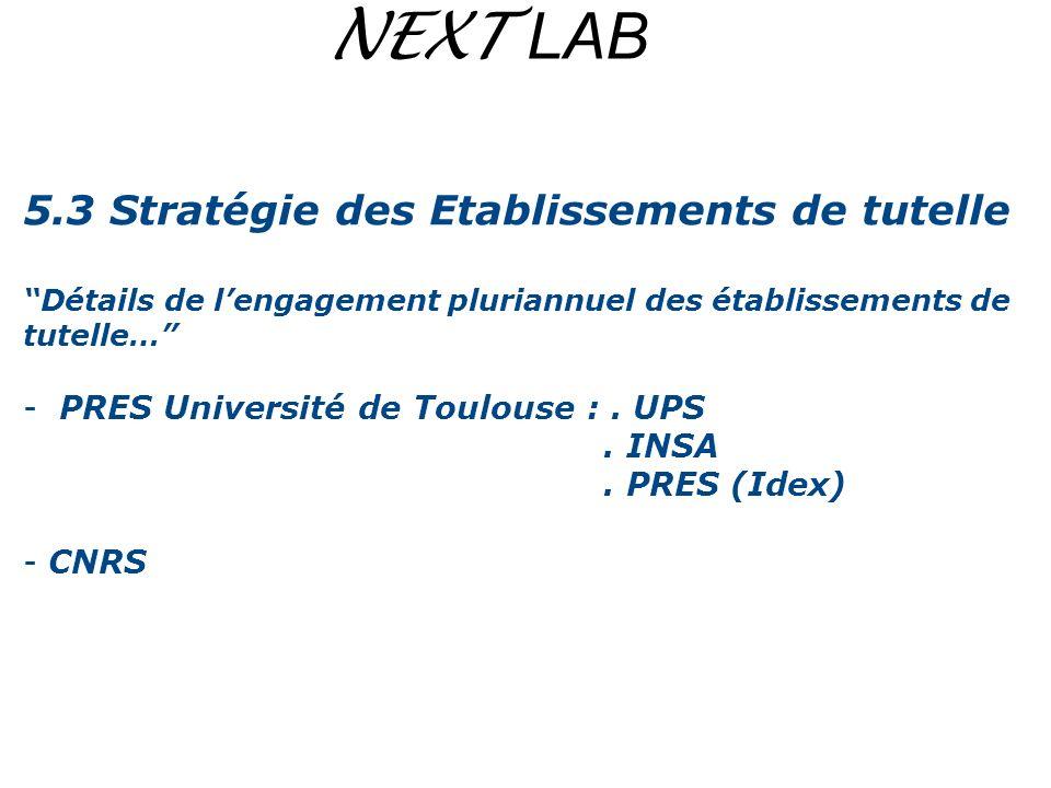 NEXT LAB 5.3 Stratégie des Etablissements de tutelle Détails de lengagement pluriannuel des établissements de tutelle… - PRES Université de Toulouse :
