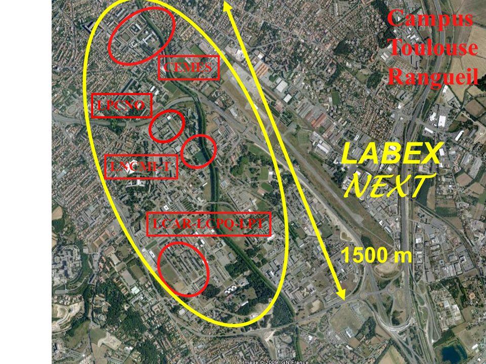 Campus Toulouse Rangueil CEMES LPCNO LNCMI-T LCAR-LCPQ-LPT LABEX NEXT 1500 m
