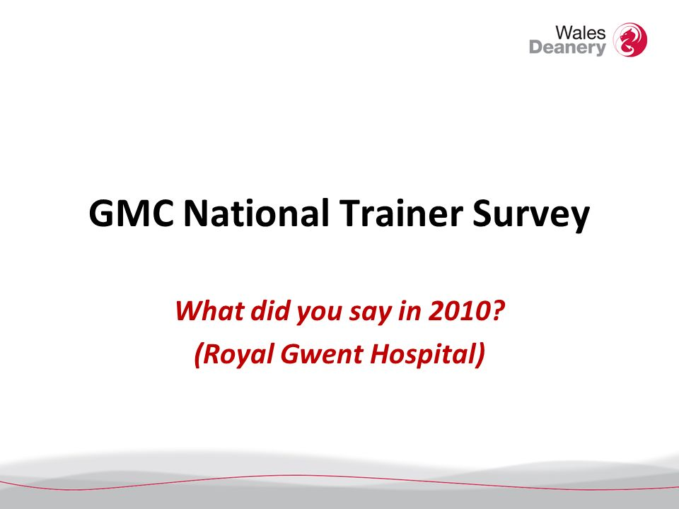 GMC National Trainer Survey What did you say in 2010? (Royal Gwent Hospital)
