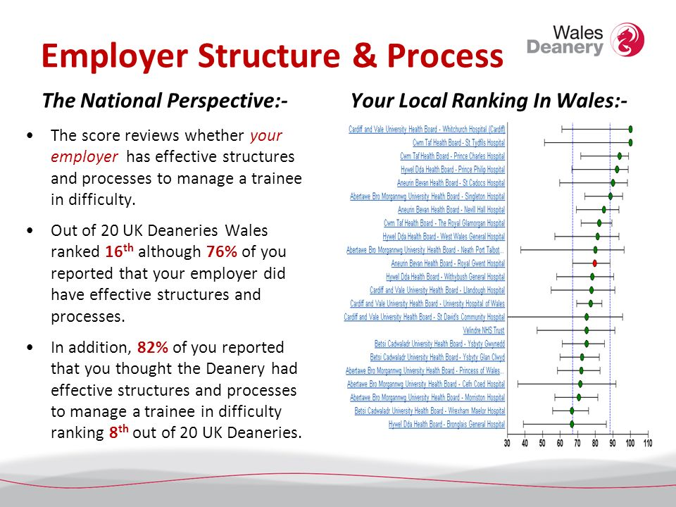 Employer Structure & Process The National Perspective:- The score reviews whether your employer has effective structures and processes to manage a tra