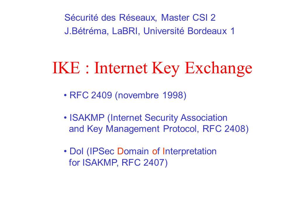 IKE : Internet Key Exchange RFC 2409 (novembre 1998) ISAKMP (Internet Security Association and Key Management Protocol, RFC 2408) DoI (IPSec Domain of