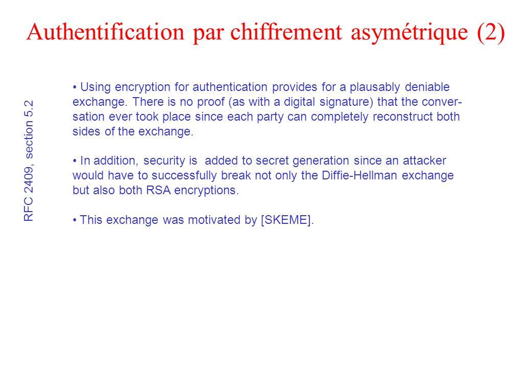 Authentification par chiffrement asymétrique (2) RFC 2409, section 5.2 Using encryption for authentication provides for a plausably deniable exchange.