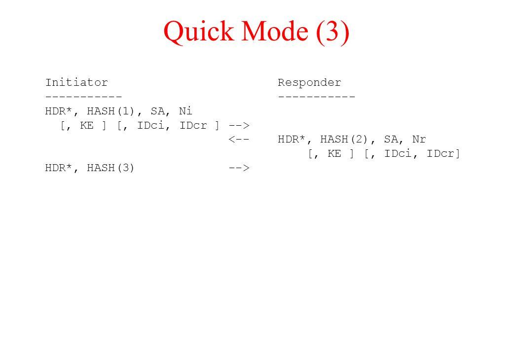 Quick Mode (3) Initiator Responder ----------- HDR*, HASH(1), SA, Ni [, KE ] [, IDci, IDcr ] --> <-- HDR*, HASH(2), SA, Nr [, KE ] [, IDci, IDcr] HDR*