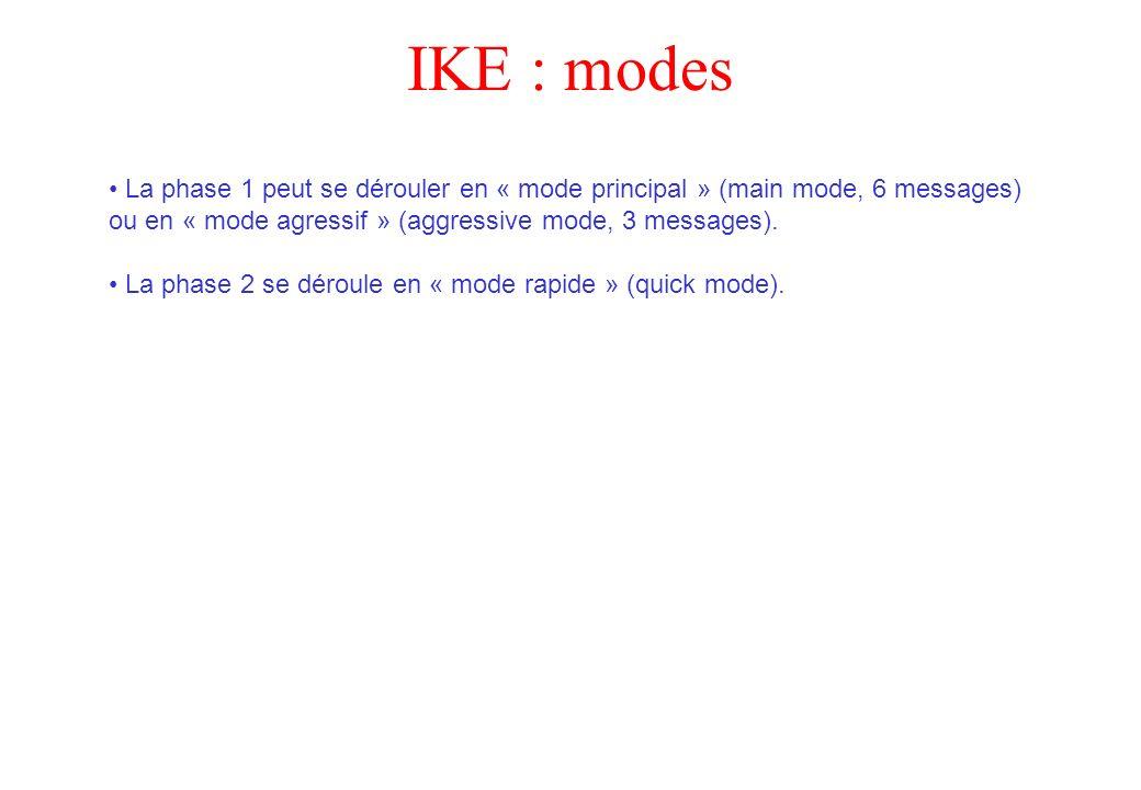 IKE : modes La phase 1 peut se dérouler en « mode principal » (main mode, 6 messages) ou en « mode agressif » (aggressive mode, 3 messages). La phase