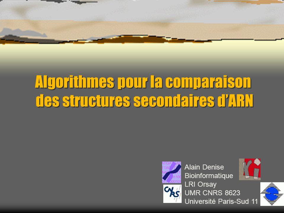 Alain Denise Bioinformatique LRI Orsay UMR CNRS 8623 Université Paris-Sud 11 Algorithmes pour la comparaison des structures secondaires dARN Algorithmes pour la comparaison des structures secondaires dARN