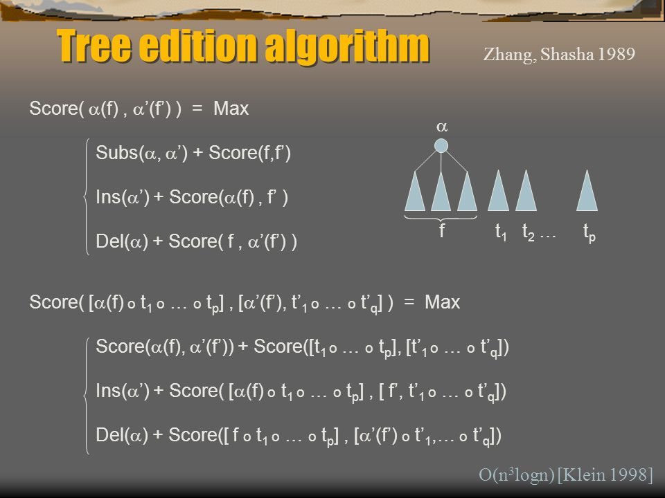 Tree edition algorithm Score( (f), (f) ) = Max Subs(, ) + Score(f,f) Ins( ) + Score( (f), f ) Del( ) + Score( f, (f) ) Score( [ (f) o t 1 o … o t p ], [ (f), t 1 o … o t q ] ) = Max Score( (f), (f)) + Score([t 1 o … o t p ], [t 1 o … o t q ]) Ins( ) + Score( [ (f) o t 1 o … o t p ], [ f, t 1 o … o t q ]) Del( ) + Score([ f o t 1 o … o t p ], [ (f) o t 1,… o t q ]) f t 1 t 2 … t p Zhang, Shasha 1989 O(n 3 logn) [Klein 1998]