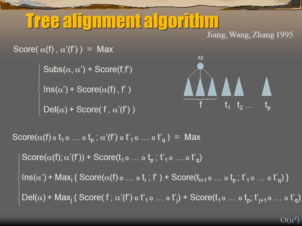 Score( (f), (f) ) = Max Subs(, ) + Score(f,f) Ins( ) + Score( (f), f ) Del( ) + Score( f, (f) ) Tree alignment algorithm Score( (f) o t 1 o … o t p ; (f) o t 1 o … o t q ) = Max Score( (f); (f)) + Score(t 1 o … o t p ; t 1 o … o t q ) Ins( ) + Max i { Score( (f) o … o t i ; f ) + Score(t i+1 o … o t p ; t 1 o … o t q ) } Del( ) + Max j { Score( f ; (f) o t 1 o … o t j ) + Score(t 1 o … o t p ; t j+1 o … o t q ) } f t 1 t 2 … t p Jiang, Wang, Zhang 1995 O(n 4 )