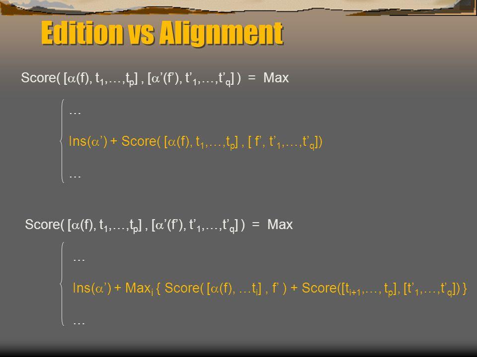Edition vs Alignment Score( [ (f), t 1,…,t p ], [ (f), t 1,…,t q ] ) = Max … Ins( ) + Score( [ (f), t 1,…,t p ], [ f, t 1,…,t q ]) … Score( [ (f), t 1,…,t p ], [ (f), t 1,…,t q ] ) = Max … Ins( ) + Max i { Score( [ (f), …t i ], f ) + Score([t i+1,…, t p ], [t 1,…,t q ]) } …