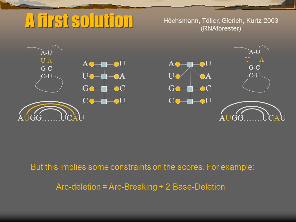 A first solution A-U U-A G-C C-U A-U U A G-C C-U AUGG…….UCAU A U G C U A C U A U G C U A C U But this implies some constraints on the scores. For exam