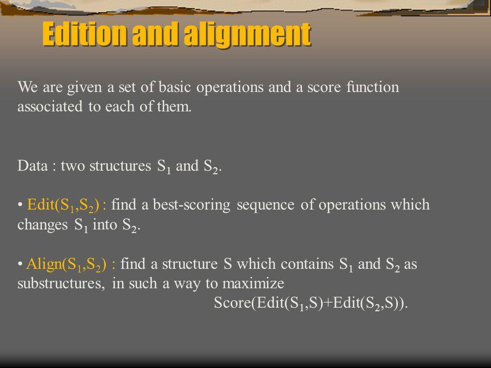 Example: sequence comparison Deux séquences v = v 1 v 2 …v n et w = w 1 w 2 …w m Opérations dédition : ins(x,i) suppr(x,i) subs(x,y,i) CHAT - suppr(C,1) HAT - subs(H,R,1) RAT (Pour les séquences : édition ~ alignement : CHAT - RAT)