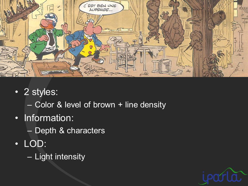 2 styles: –Color & level of brown + line density Information: –Depth & characters LOD: –Light intensity