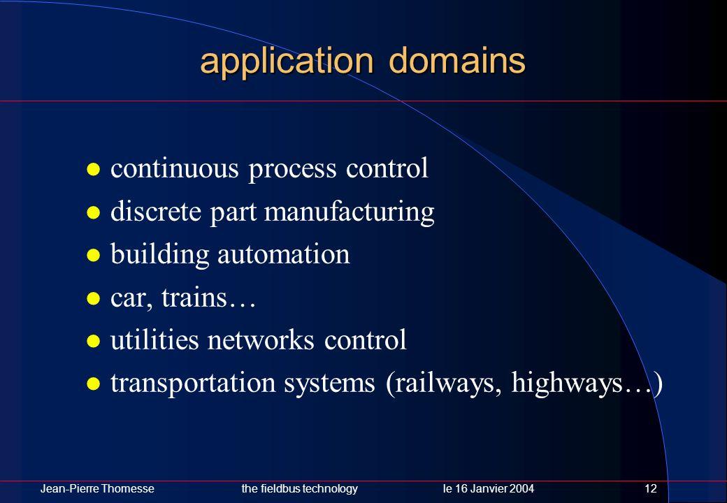 Jean-Pierre Thomessethe fieldbus technology le 16 Janvier 200412 application domains continuous process control discrete part manufacturing building a