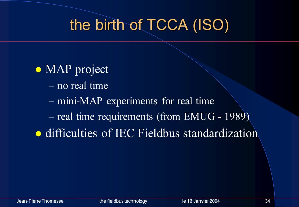 Jean-Pierre Thomessethe fieldbus technology le 16 Janvier 200434 the birth of TCCA (ISO) MAP project –no real time –mini-MAP experiments for real time