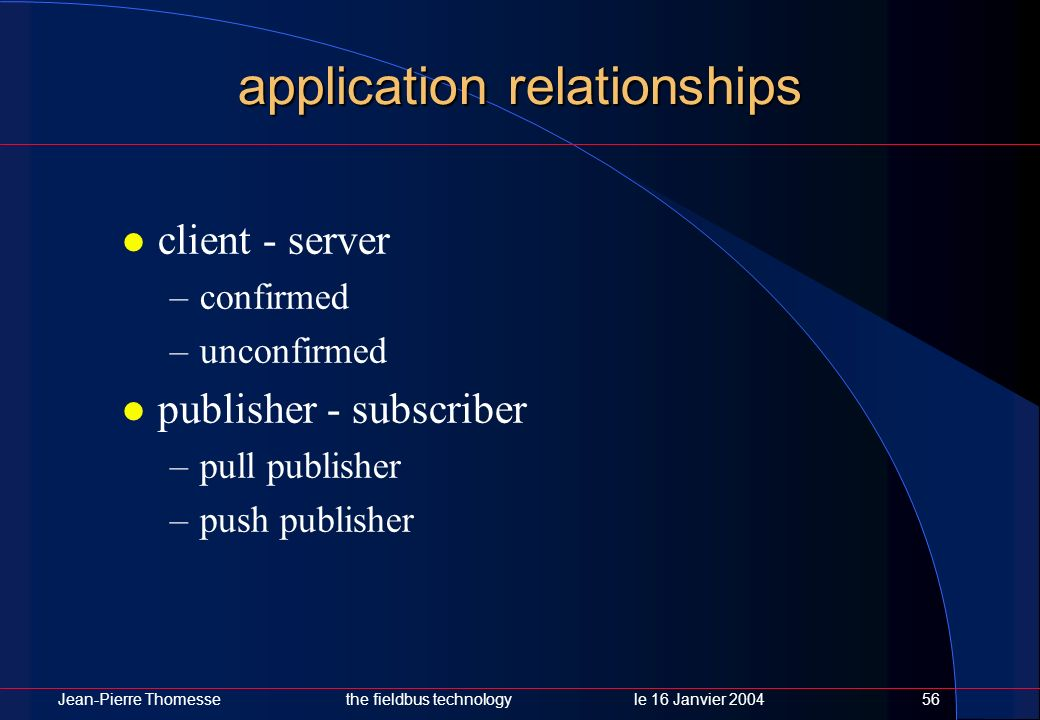 Jean-Pierre Thomessethe fieldbus technology le 16 Janvier 200456 application relationships client - server –confirmed –unconfirmed publisher - subscri