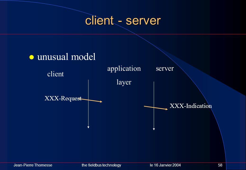 Jean-Pierre Thomessethe fieldbus technology le 16 Janvier 200458 client - server unusual model application layer client server XXX-Request XXX-Indicat