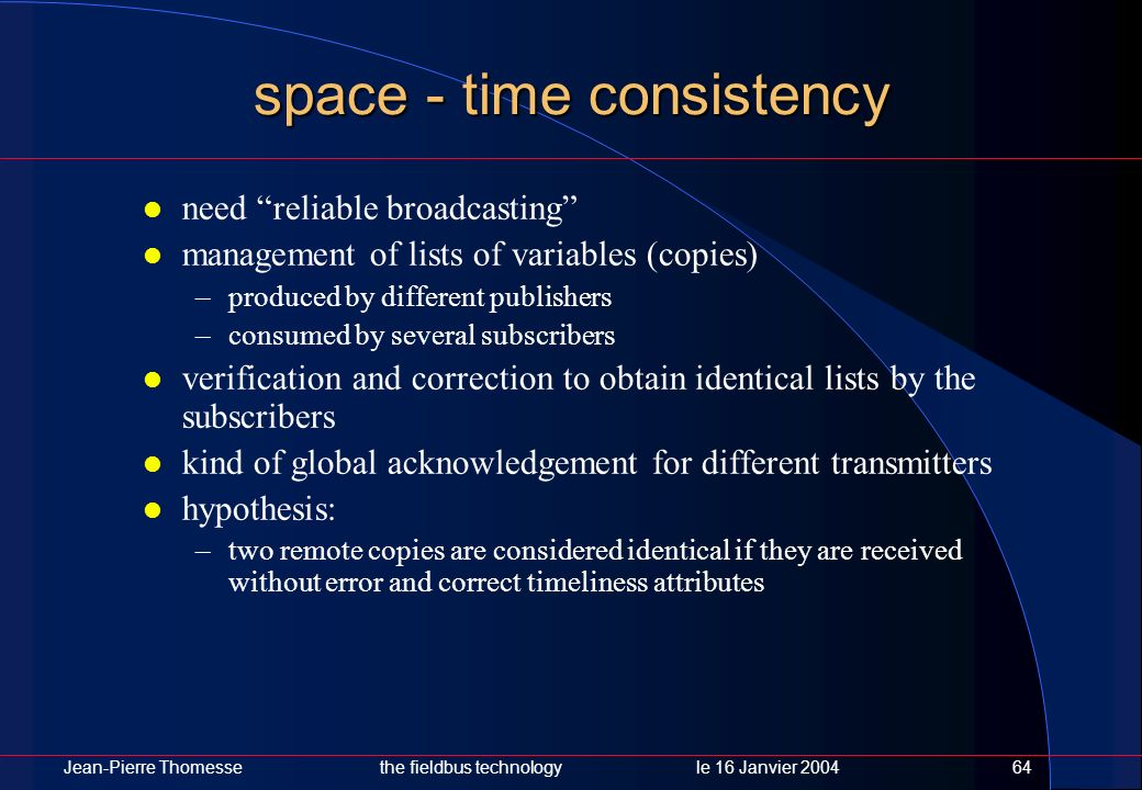 Jean-Pierre Thomessethe fieldbus technology le 16 Janvier 200464 space - time consistency need reliable broadcasting management of lists of variables