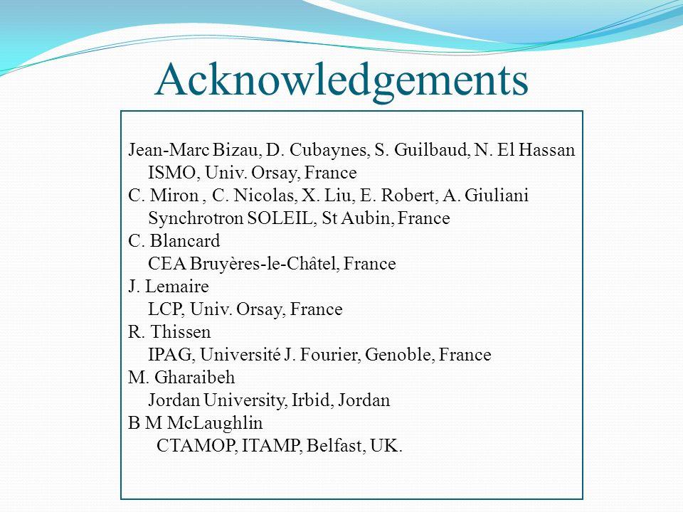 Jean-Marc Bizau, D. Cubaynes, S. Guilbaud, N. El Hassan ISMO, Univ. Orsay, France C. Miron, C. Nicolas, X. Liu, E. Robert, A. Giuliani Synchrotron SOL