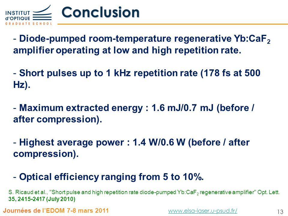 13 Journées de lEDOM 7-8 mars 2011 www.elsa-laser.u-psud.fr/ www.elsa-laser.u-psud.fr/ 13 Conclusion - Diode-pumped room-temperature regenerative Yb:C