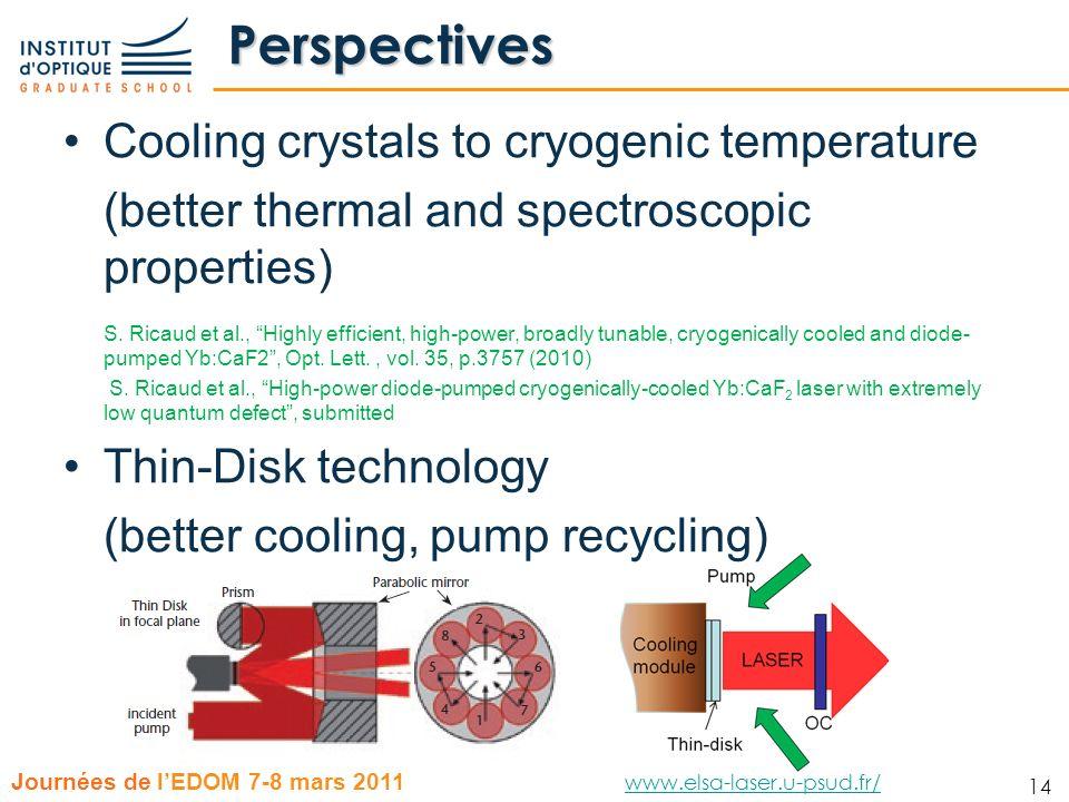 14 Journées de lEDOM 7-8 mars 2011 www.elsa-laser.u-psud.fr/ www.elsa-laser.u-psud.fr/ 14 Perspectives Cooling crystals to cryogenic temperature (bett