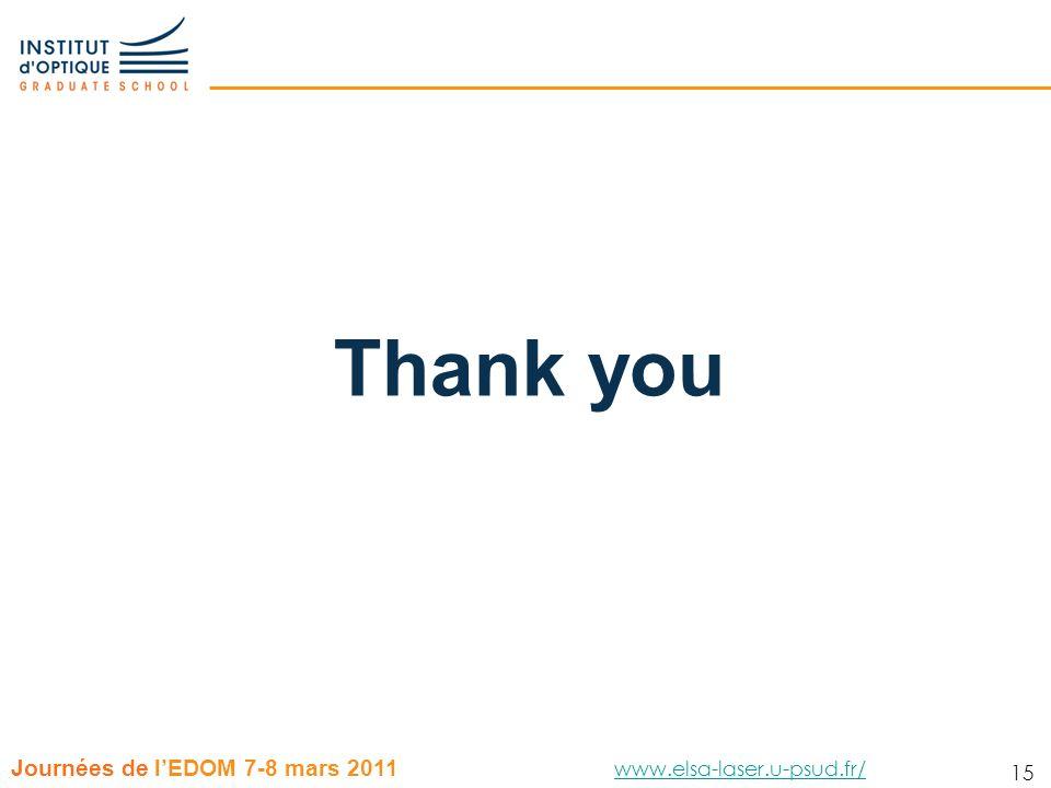 15 Journées de lEDOM 7-8 mars 2011 www.elsa-laser.u-psud.fr/ www.elsa-laser.u-psud.fr/ 15 Thank you