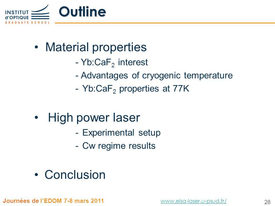 28 Journées de lEDOM 7-8 mars 2011 www.elsa-laser.u-psud.fr/ www.elsa-laser.u-psud.fr/ 28 Outline Material properties - Yb:CaF 2 interest - Advantages