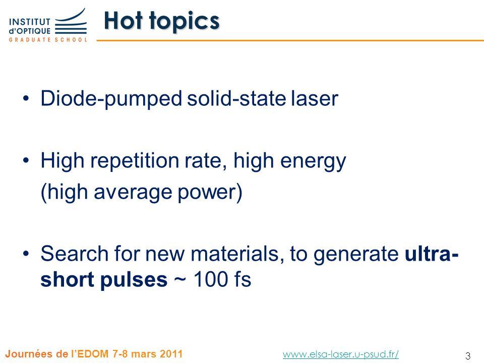 24 Journées de lEDOM 7-8 mars 2011 www.elsa-laser.u-psud.fr/ www.elsa-laser.u-psud.fr/ 24 Tunability curve Quantum defect 1.1% (992 nm) Laser diode 245 W @ 979 nm Ø=400µm Yb:CaF 2 Prism 2% OC P