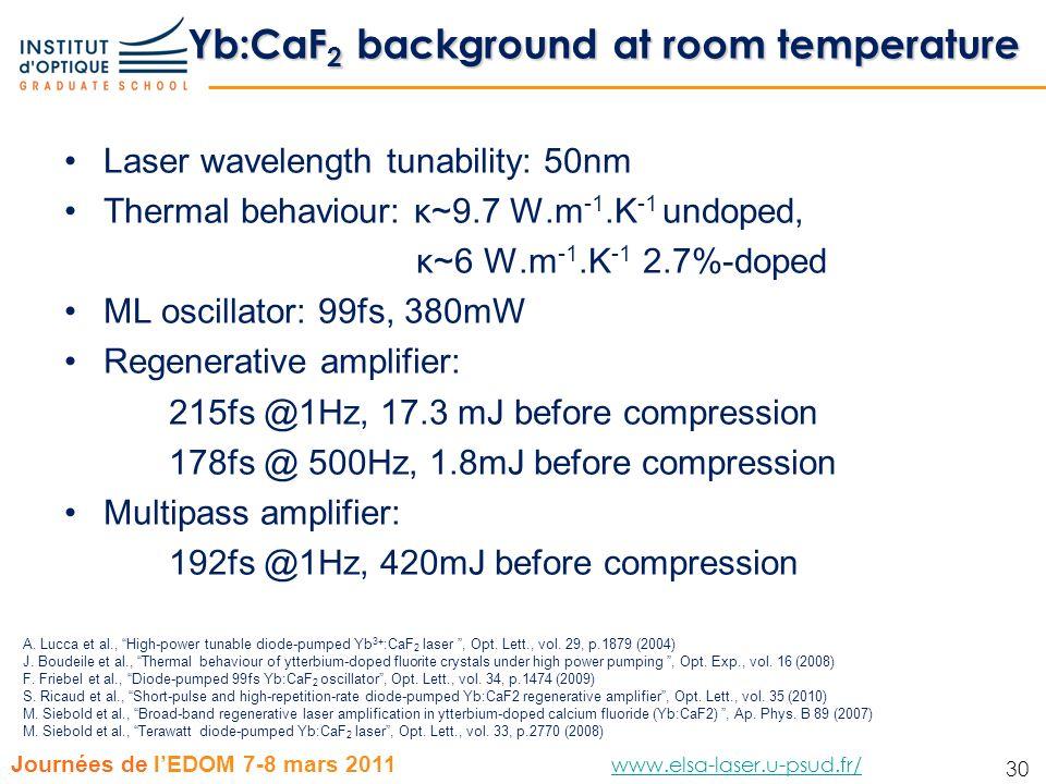 30 Journées de lEDOM 7-8 mars 2011 www.elsa-laser.u-psud.fr/ www.elsa-laser.u-psud.fr/ 30 Yb:CaF 2 background at room temperature Laser wavelength tun