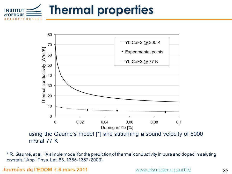 35 Journées de lEDOM 7-8 mars 2011 www.elsa-laser.u-psud.fr/ www.elsa-laser.u-psud.fr/ 35 Thermal properties * R. Gaumé, et al.