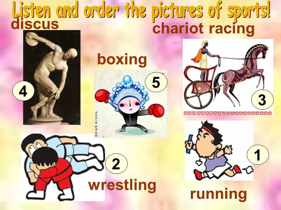 discus wrestling boxing running chariot racing 4 5 2 1 3