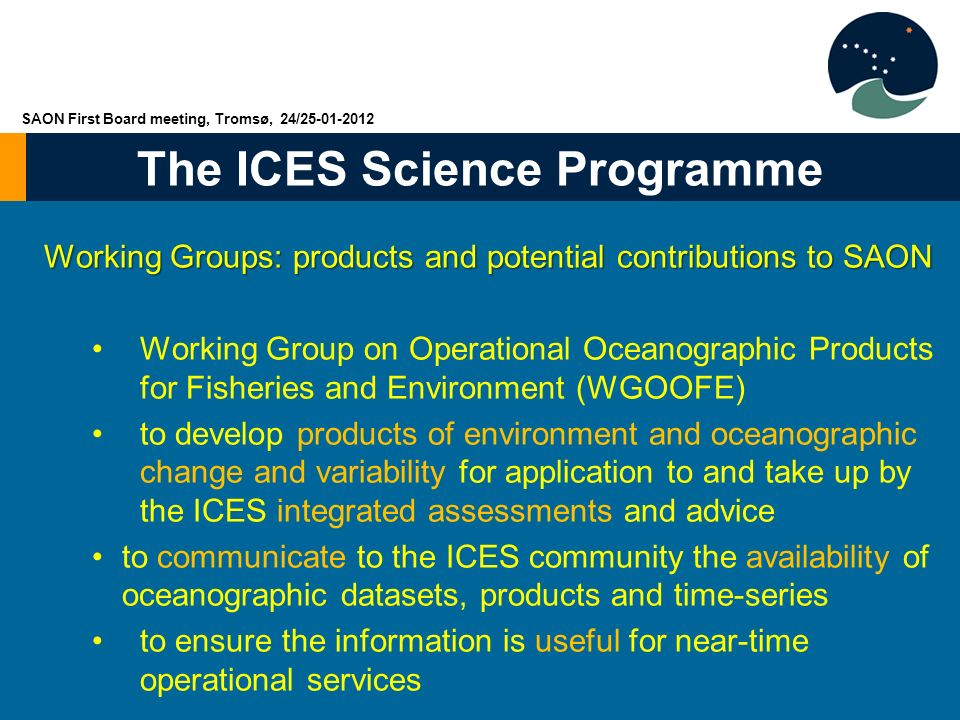 The ICES Science Programme Working Groups: products and potential contributions to SAON Working Group on Operational Oceanographic Products for Fisher
