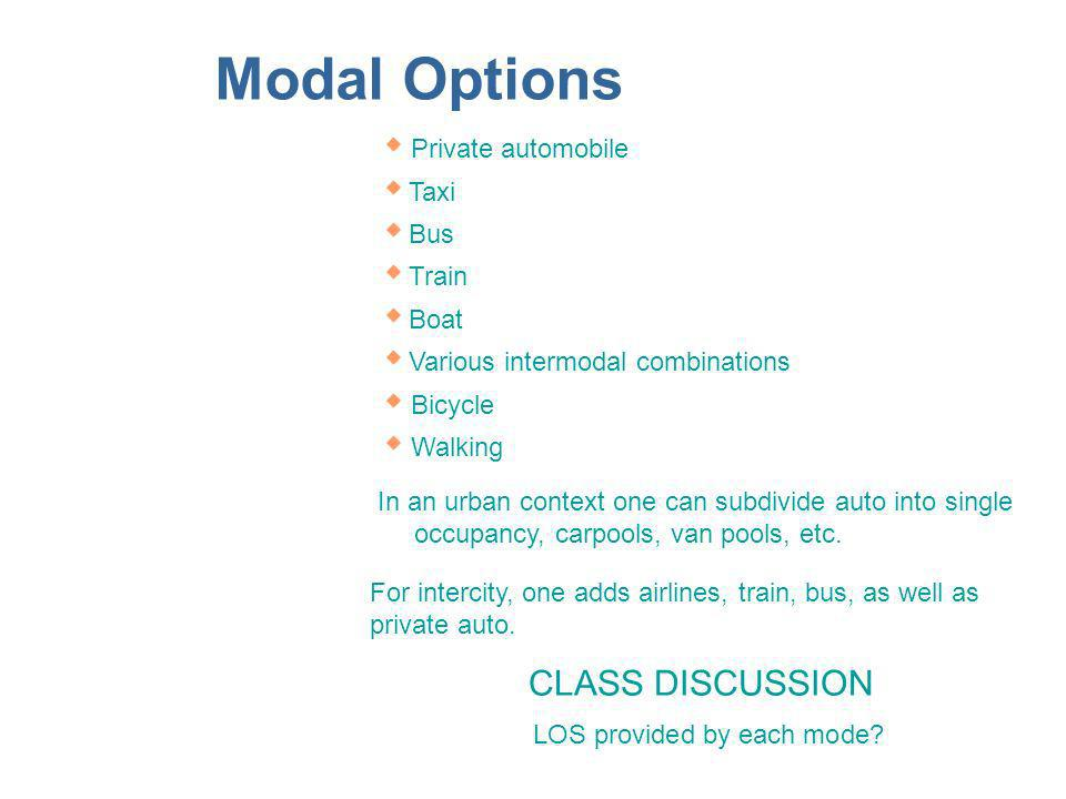 Modal Options Private automobile Taxi Bus Train Boat Various intermodal combinations Bicycle Walking In an urban context one can subdivide auto into single occupancy, carpools, van pools, etc.