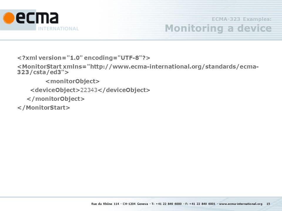Rue du Rhône 114 - CH-1204 Geneva - T: +41 22 849 6000 - F: +41 22 849 6001 - www.ecma-international.org 15 ECMA-323 Examples: Monitoring a device 22343