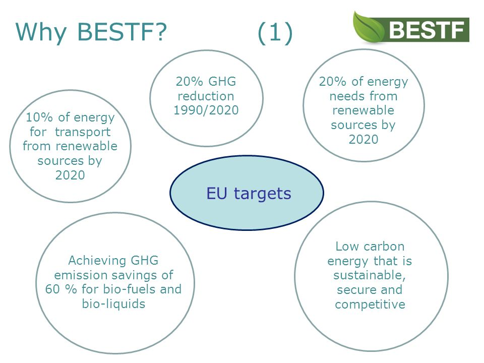 Why BESTF (1) 20% of energy needs from renewable sources by 2020 EU targets Achieving GHG emission savings of 60 % for bio-fuels and bio-liquids 20% GHG reduction 1990/2020 Low carbon energy that is sustainable, secure and competitive 10% of energy for transport from renewable sources by 2020