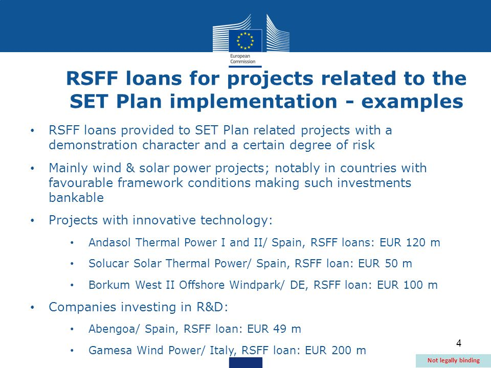 4 RSFF loans provided to SET Plan related projects with a demonstration character and a certain degree of risk Mainly wind & solar power projects; not
