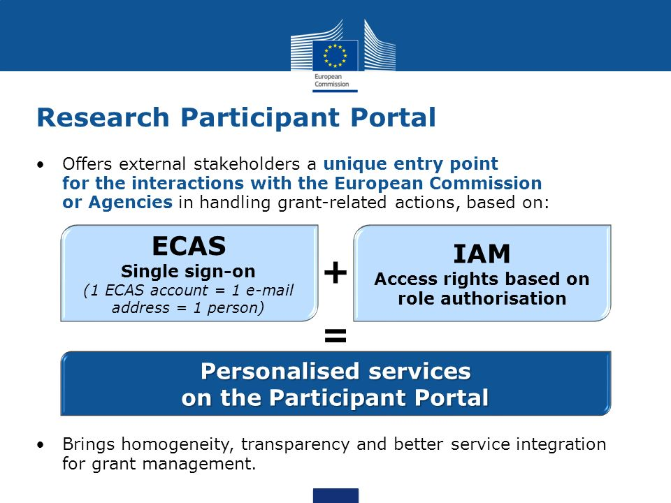 Research Participant Portal Offers external stakeholders a unique entry point for the interactions with the European Commission or Agencies in handlin