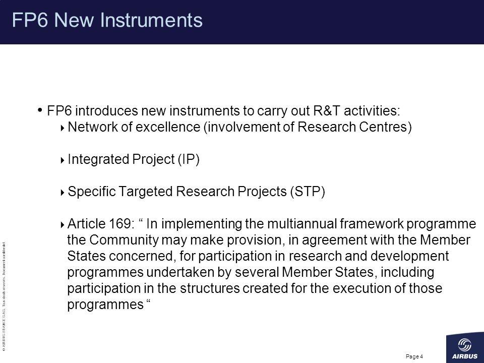 © AIRBUS FRANCE S.A.S. Tous droits réservés. Document confidentiel. Page 4 FP6 New Instruments FP6 introduces new instruments to carry out R&T activit