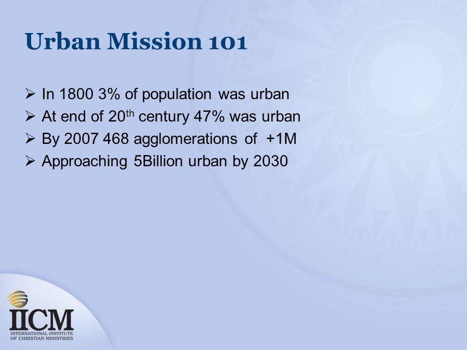 Urban Mission 101 In 1800 3% of population was urban At end of 20 th century 47% was urban By 2007 468 agglomerations of +1M Approaching 5Billion urba