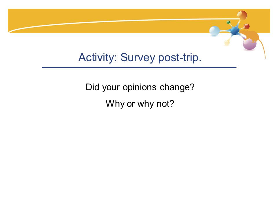 Activity: Survey post-trip. Did your opinions change Why or why not